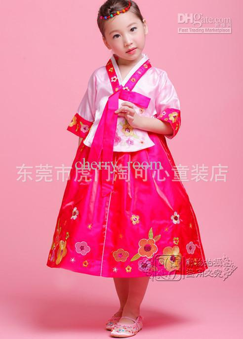 NWT Autumn Summer Kids Children Girls Handbok Korean Butterfly Embroider Dresses Floral Traditional Costumes Pageant Dress 0126